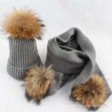 Venda quente de inverno chapéu com pom poms de lã de cor pura de malha mulheres inverno chapéu e lenço conjunto