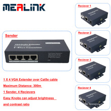 1 to 4 300m Over Cat5e Cable VGA Extender
