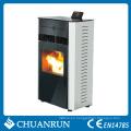 Estufa de pellets de biomasa finamente procesada y caliente