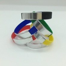 Custom Silicone Wristband Metal Accent Option