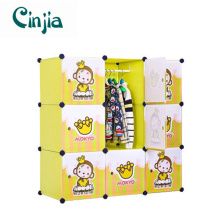 9 Cubes New Cartoon Design Plastic Children′s Wardrobe