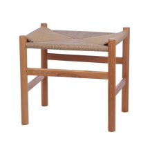 vintage wood bar stool with rattan seat