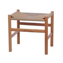 винтажный деревянный барный стул с сиденьем из ротанга