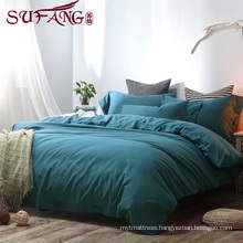 top 5 luxury 5 star hotel High Quality Hotel Bedding Linen Supplier 60s100% Cotton Plain cyan blu Bedding Sets