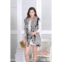 Chaleco de piel de señora de moda chaleco medio largo