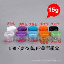 15g ronda reciclado PP PS cosmético muestra vacía tornillo tapa tarro de crema