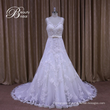 Veja através de estilos do vestido de casamento da A-Linha do decote em V