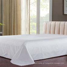 100% algodão branco liso cama folha fabricante (DPF1056)