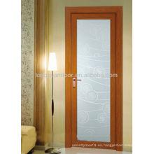Puerta abatible de aluminio con vidrio, puertas de baño de fibra