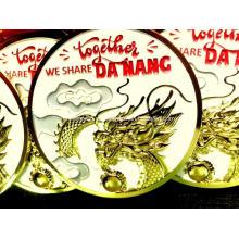 Medalhão de metal jateado de ouro brilhante Custom 2020