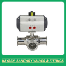DIN Sanitary 3-way clamped valves المحرك الهوائية