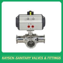 Válvulas de esfera higiênicas de 3 vias de grau alimentício presas pneumáticas
