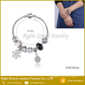 Herz Metall Perlen Silber Armband Schlangenkette Armband