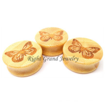 Organic Bamboo Anime Butterfly Wood Ear Tunnels And Plugs