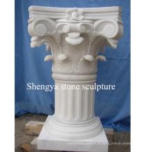Pilier de sculpture en pierre de marbre blanc (SY-C015)