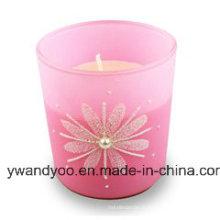 Bougie de cadeau d'anniversaire de soja parfumée en verre rose