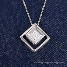 Zhefan jewelry 2018 new design Korean style square white gold pendant for Valentine's Day