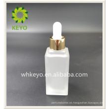 Botella plástica del dropper del vidrio del embalaje cosmético vacío coloreado cuadrado de alta calidad de la venta 20ml