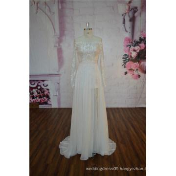 Long Sleeve Champagne Wedding Dress Sheath Lace Wedding Dress