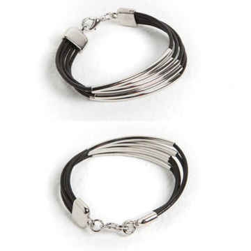 Unique design silver pipe bracelet with leather Strap
