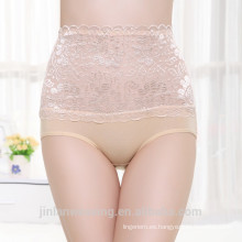 China Ropa interior venta al por mayor 5151 Poco flor Panty Modal tela alta Wasith Panty Lady Push Up Briefs sexo Lace Fat Women Panty