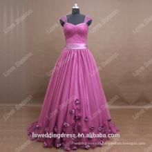 RP0181 New handmade flower lace up back appliques prom dress off shoulder evening dresses purple
