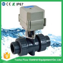 Válvula de bola de plástico PVC motorizado eléctrico IP67 de 2 vías