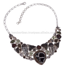 Fósiles Shar Teath Septarian Collar de Plata esterlina Orthocereous en mejor precio