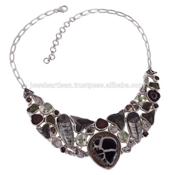 Fossils Shar Teath Septarian Orthocereous Sterling Silver Necklace in best price