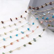 Amazonite Turquoise Rosary Gemstone Chain Obsidian Agate Chips Beaded Wire Wrapped Rosary Chains