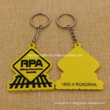 Porte-clés en PVC 2D de possession de chemin de fer de haute qualité