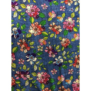 Tissu d'impression Denim Flower Design Rayon Challis 32S