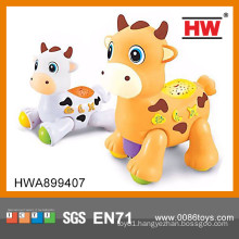 Funny plastic toy milk cow b/o animal toy with music plastic toy cow