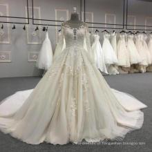 Elegante appliqued manga longa rendas vestido de noiva vestido de noiva 2017 DY034