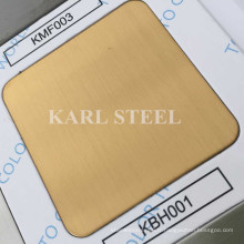 304 acier inoxydable couleur dorée Hairline Kbh001 feuille