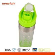 Bouteille de boissons sportives en plastique personnalisé avec couvercle de paille