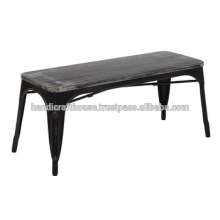 Industrial Vintage Wood top and Metal base narrow bench