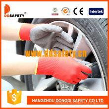 Roter Nylon Schwarzer Latex Crinkle Finish Handschuh Dnl111