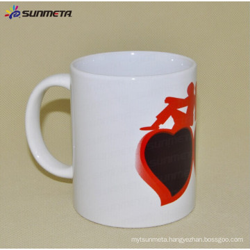 11oz ceramic white sublimation mug with heart color changing
