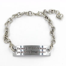 Jewelry Chain Bracelets with Stamped Quote Charms