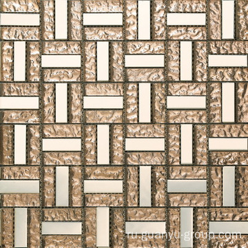 Smooth Surface Stainless Steel And Glass Mosaic