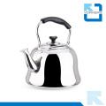Bouilloire à eau et thé traditionnelle en acier inoxydable avec poignée noire fraîche