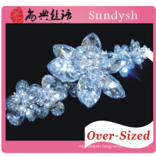 sparkling crystal zircon shinny flower statement bracelet
