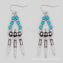 Mais recente design moda vintage turquesa deslumbrante brincos baratos borla para as mulheres sseh011