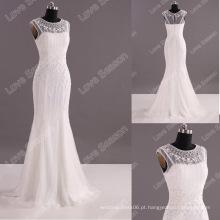 LS0117 Vestido de casamento real pesadamente cristais capa manga sereia buraco da fechadura nupcial vestido de casamento nupcial pesado vestido de noiva beading