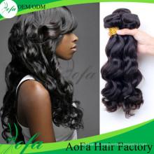 Extensão natural não processada do cabelo humano do Virgin de Remy do cabelo da onda do corpo de 100%