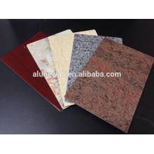 Panel compuesto de aluminio del color de mármol de PVDF para la decoración
