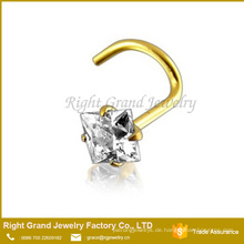 14K Solid Gold Titan Überzogene Zinke Set Zirkonia Nase Schraube Piercing Schmuck