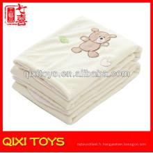 100% polyester ours en peluche bébé polaire couverture bébé peluche couvertures