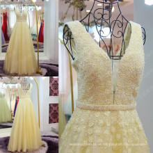 Custom Made High Quality Brilhante Beaded Applique A-line Vestidos de noite Light Yellow Crystal Sash Robe Longue Femme Soiree ML200